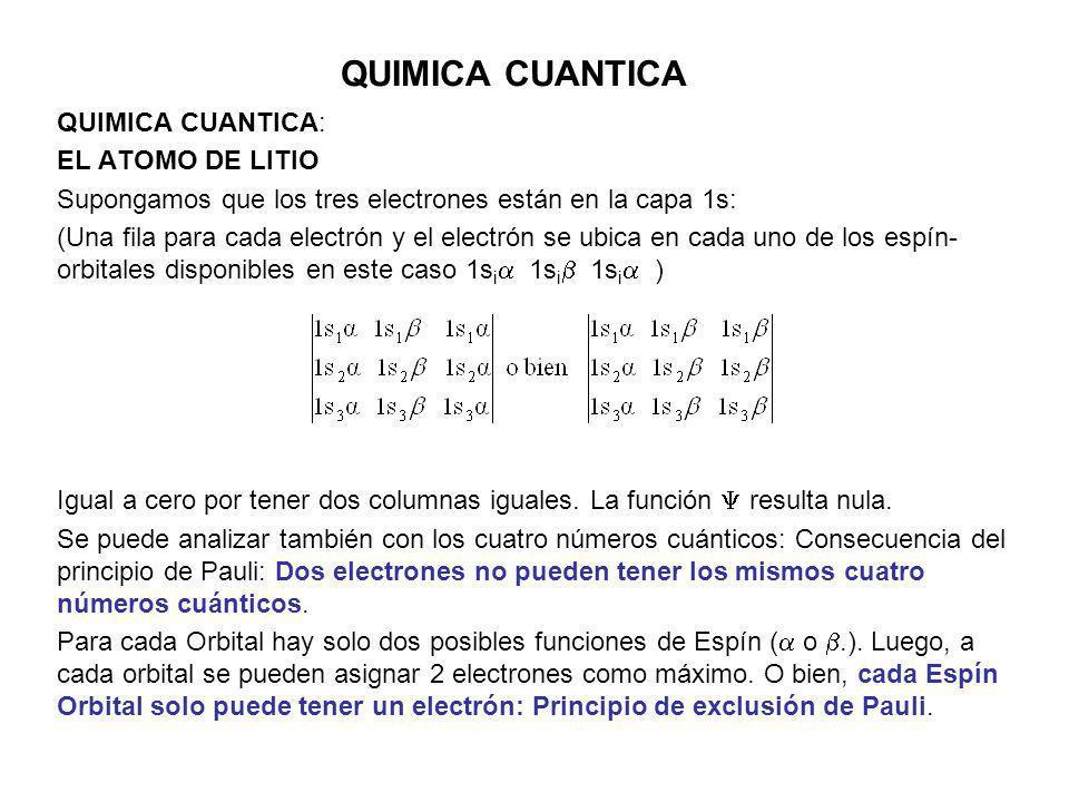 QUIMICA CUANTICA QUIMICA CUANTICA: EL ATOMO DE LITIO
