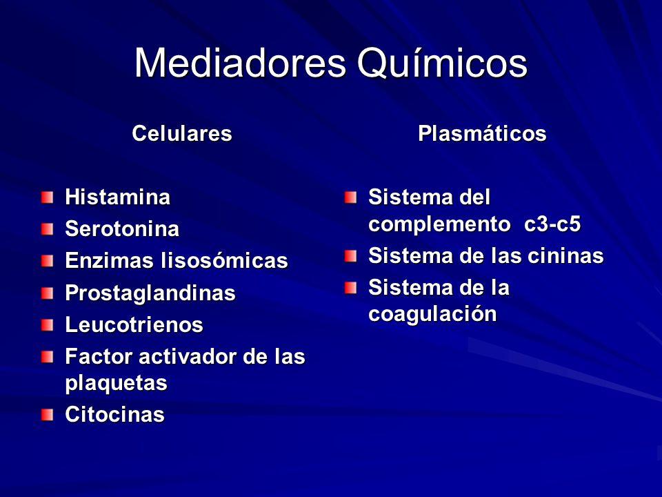 Mediadores Químicos Celulares Histamina Serotonina Enzimas lisosómicas