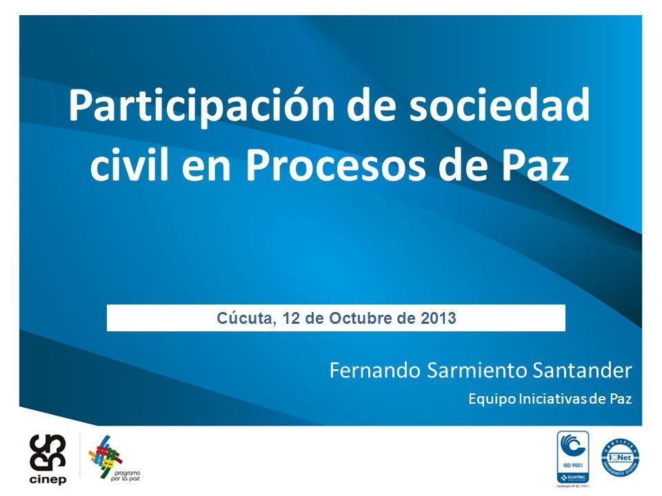Participación de sociedad civil en Procesos de Paz