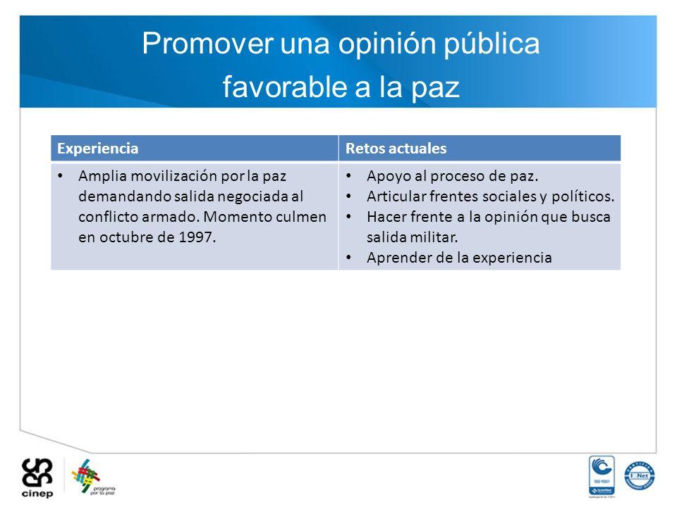 Promover una opinión pública