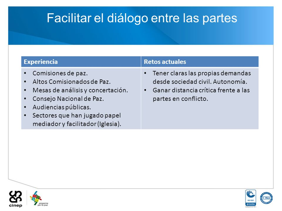 Facilitar el diálogo entre las partes