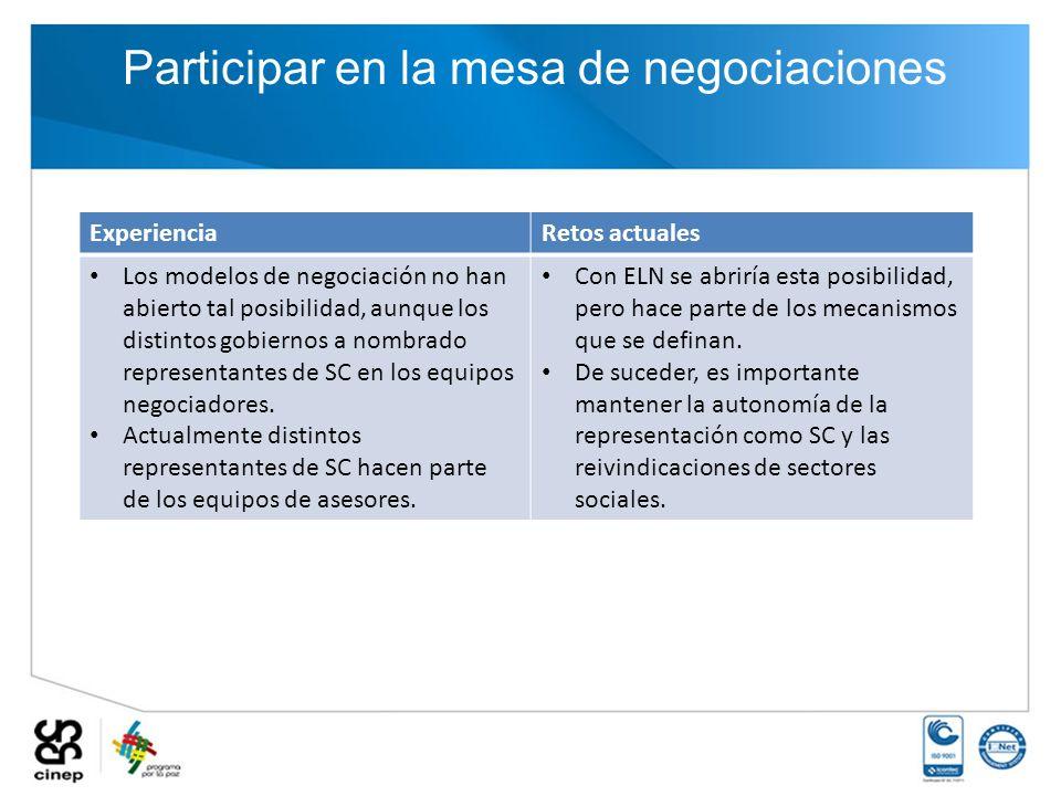 Participar en la mesa de negociaciones