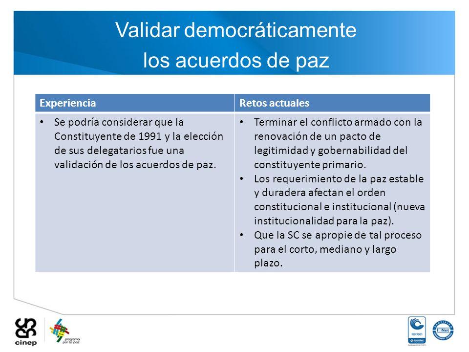 Validar democráticamente
