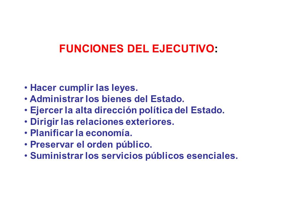 FUNCIONES DEL EJECUTIVO: