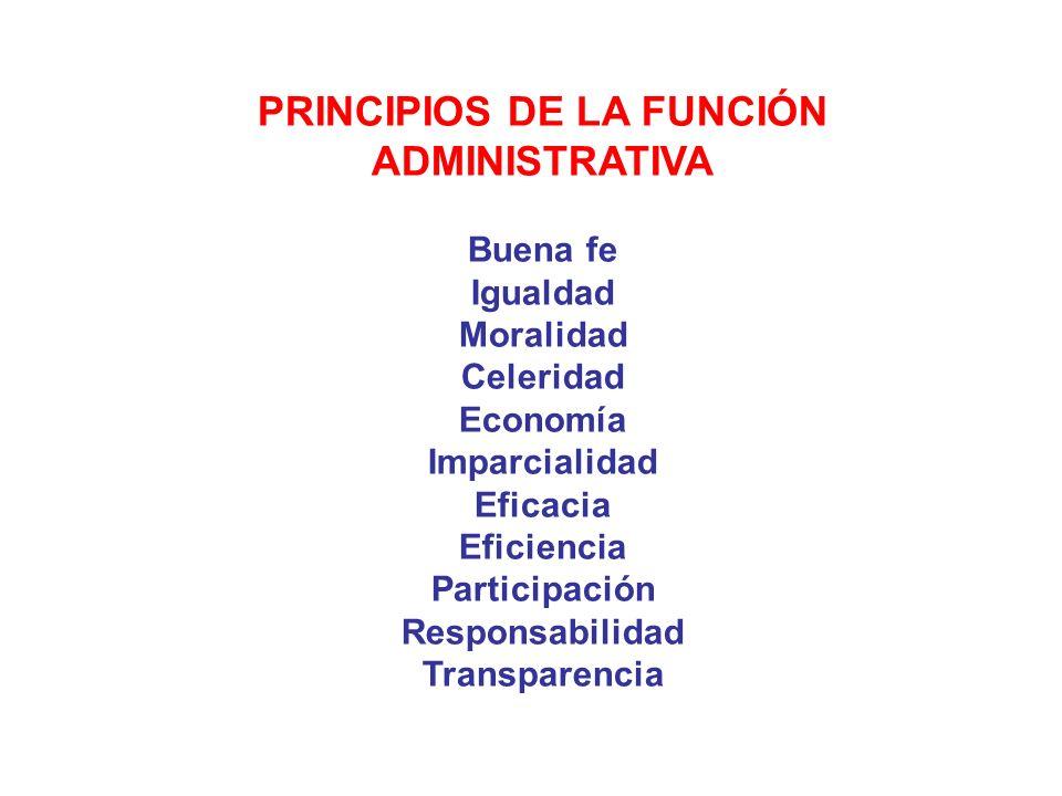 PRINCIPIOS DE LA FUNCIÓN ADMINISTRATIVA