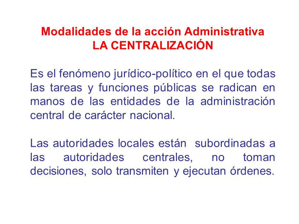 Modalidades de la acción Administrativa