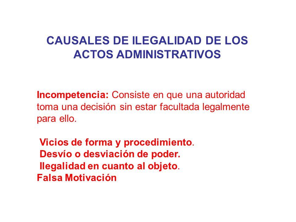 CAUSALES DE ILEGALIDAD DE LOS ACTOS ADMINISTRATIVOS