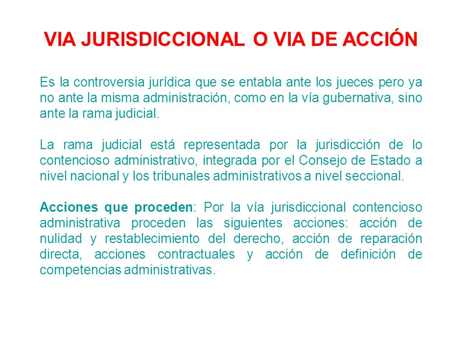 VIA JURISDICCIONAL O VIA DE ACCIÓN