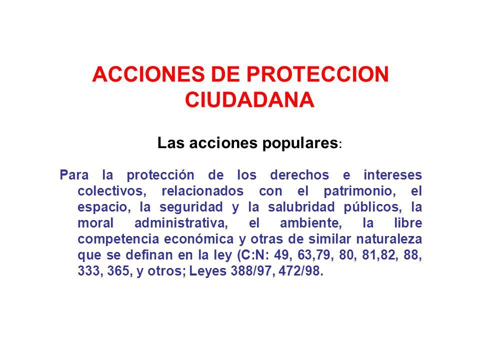 ACCIONES DE PROTECCION CIUDADANA Las acciones populares: