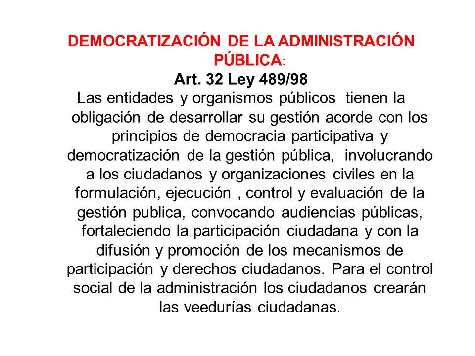 DEMOCRATIZACIÓN DE LA ADMINISTRACIÓN PÚBLICA: