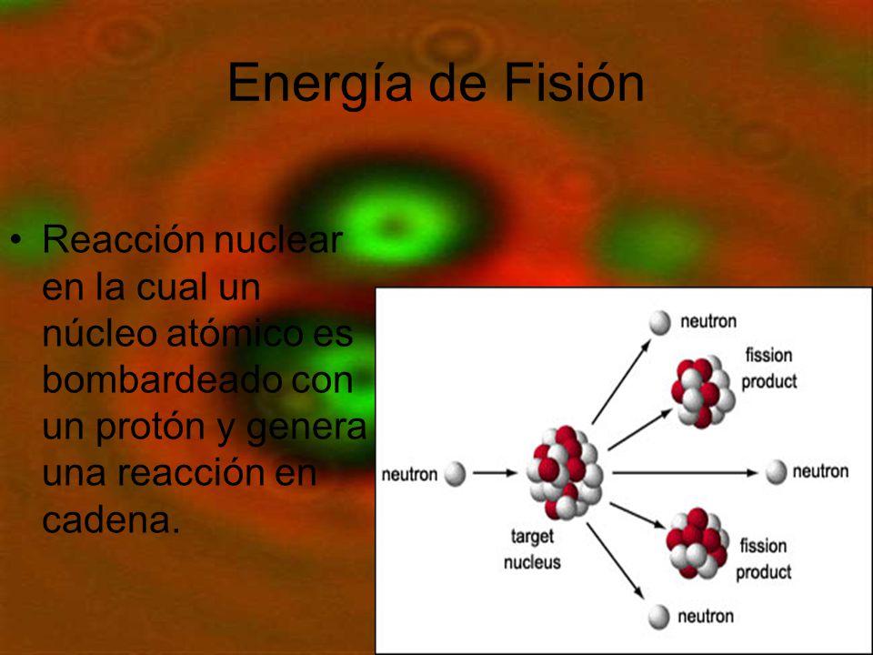 Energía de Fisión Reacción nuclear en la cual un núcleo atómico es bombardeado con un protón y genera una reacción en cadena.