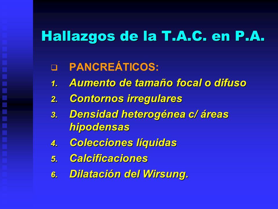 Hallazgos de la T.A.C. en P.A.