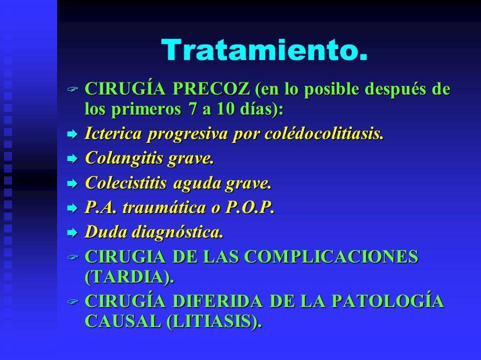 Tratamiento. CIRUGÍA PRECOZ (en lo posible después de los primeros 7 a 10 días): Icterica progresiva por colédocolitiasis.