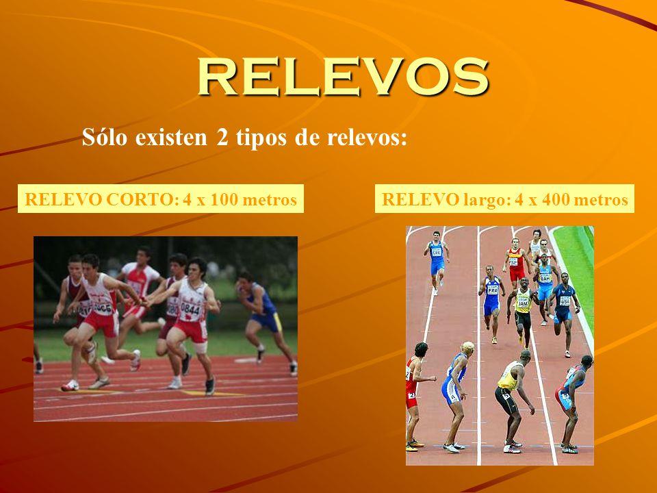RELEVOS Sólo existen 2 tipos de relevos: RELEVO CORTO: 4 x 100 metros