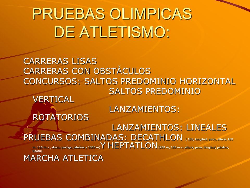 PRUEBAS OLIMPICAS DE ATLETISMO: