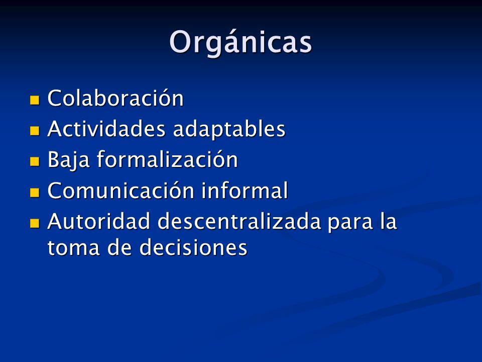 Orgánicas Colaboración Actividades adaptables Baja formalización