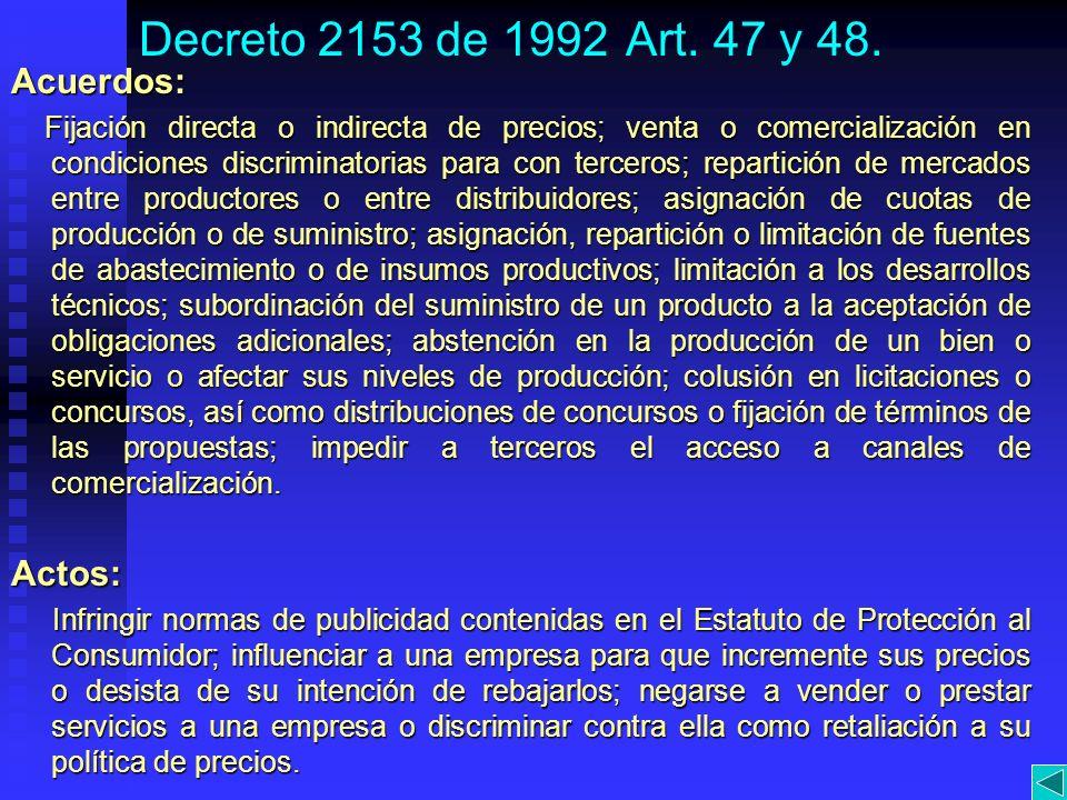 Decreto 2153 de 1992 Art. 47 y 48. Acuerdos: Actos:
