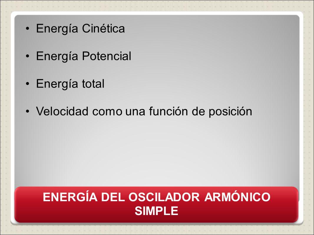 ENERGÍA DEL OSCILADOR ARMÓNICO SIMPLE