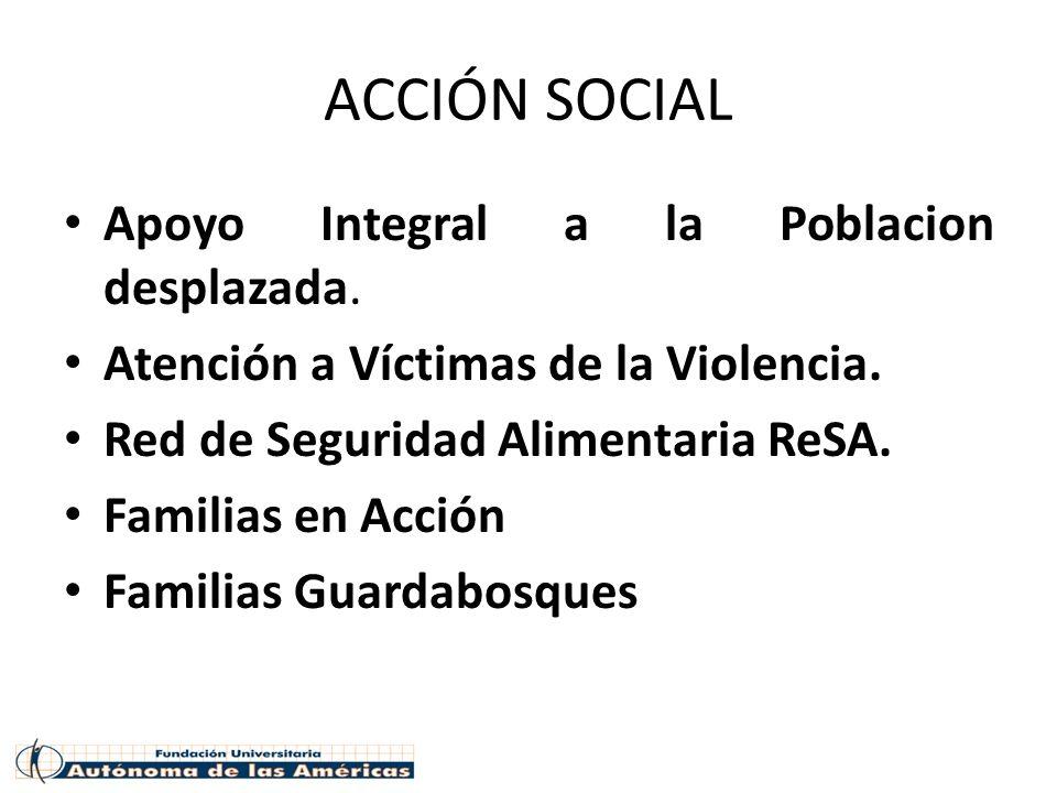 ACCIÓN SOCIAL Apoyo Integral a la Poblacion desplazada.
