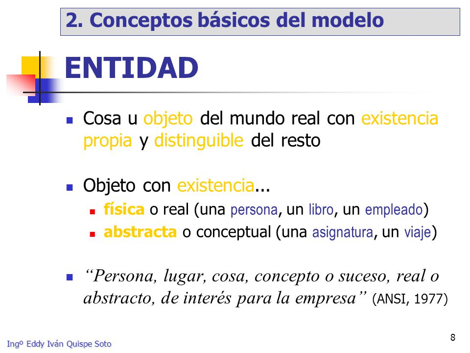 ENTIDAD 2. Conceptos básicos del modelo