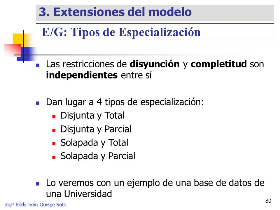 E/G: Tipos de Especialización