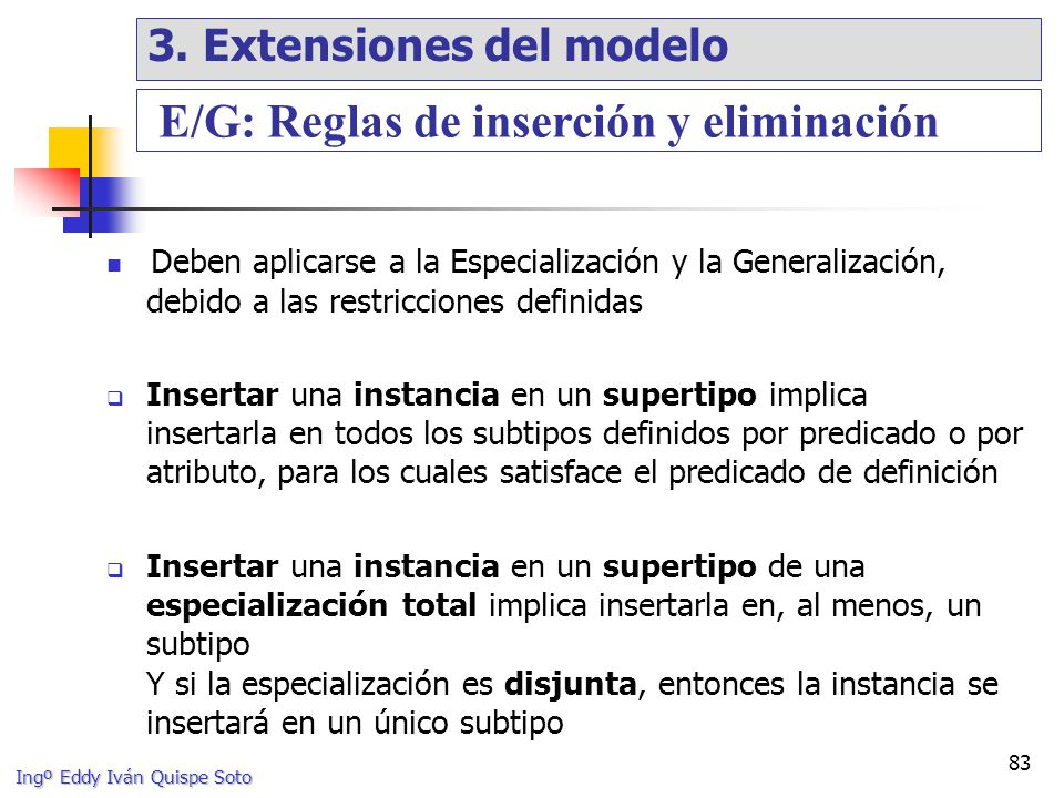 E/G: Reglas de inserción y eliminación