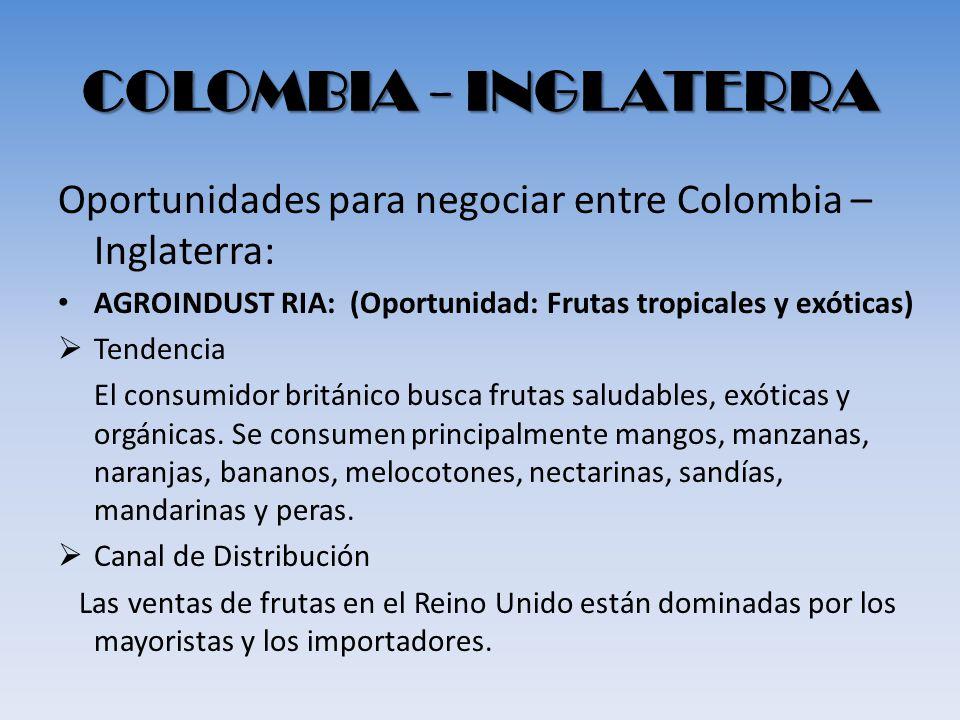 COLOMBIA - INGLATERRA Oportunidades para negociar entre Colombia – Inglaterra: AGROINDUST RIA: (Oportunidad: Frutas tropicales y exóticas)