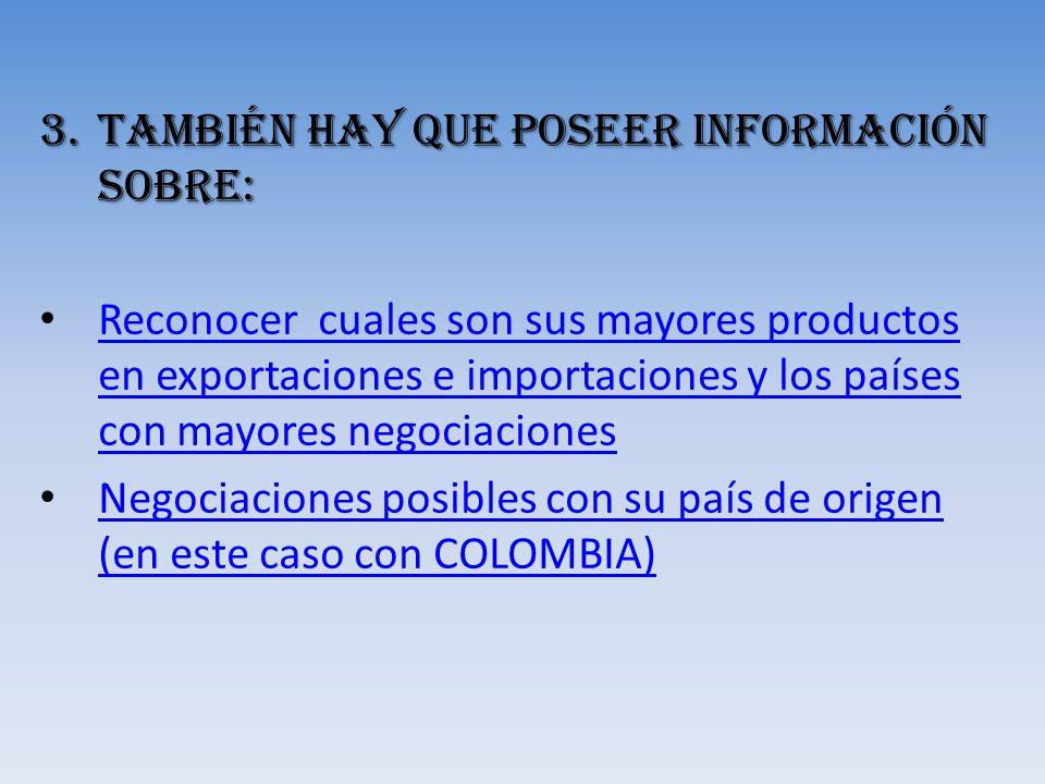 También hay que poseer Información sobre: