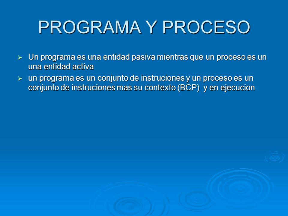 PROGRAMA Y PROCESO Un programa es una entidad pasiva mientras que un proceso es un una entidad activa.
