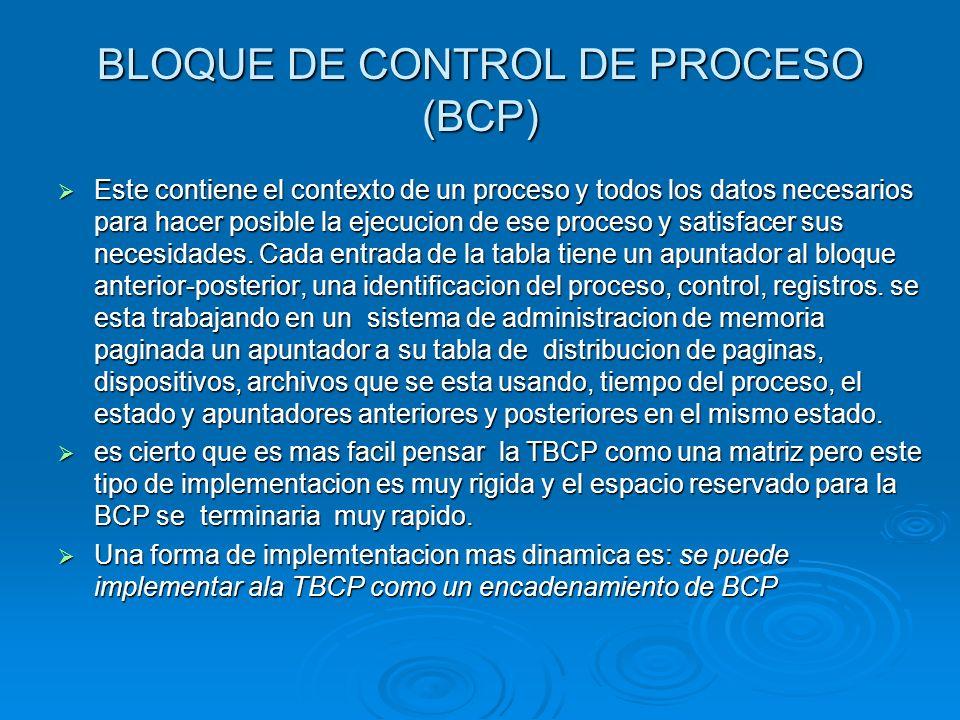 BLOQUE DE CONTROL DE PROCESO (BCP)