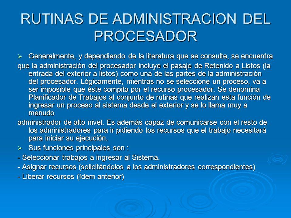 RUTINAS DE ADMINISTRACION DEL PROCESADOR