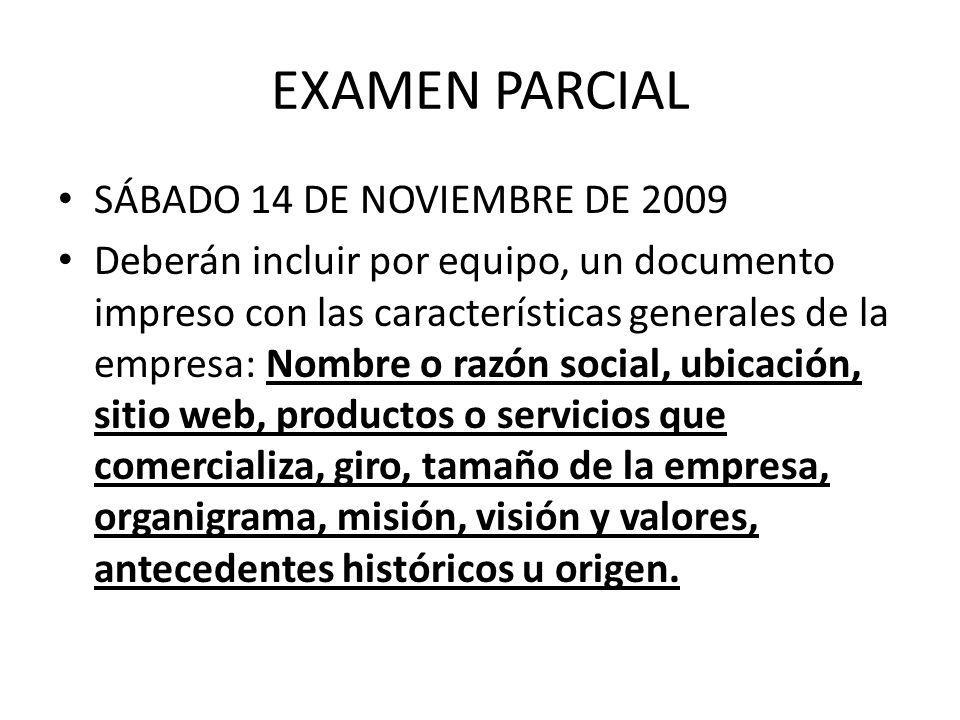 EXAMEN PARCIAL SÁBADO 14 DE NOVIEMBRE DE 2009