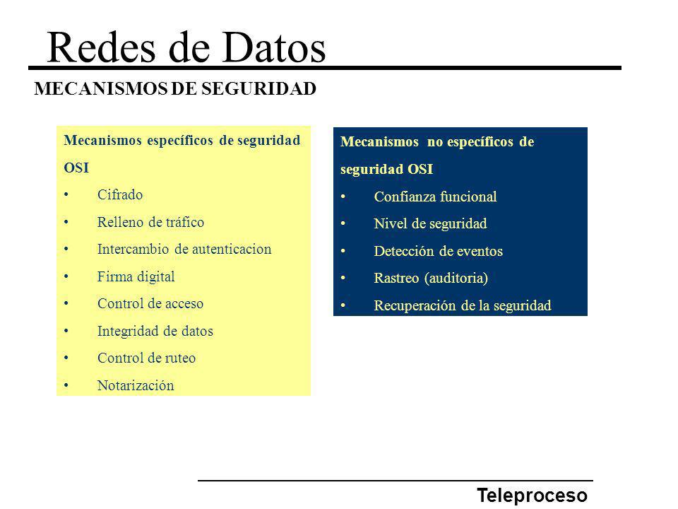 Redes de Datos MECANISMOS DE SEGURIDAD Teleproceso