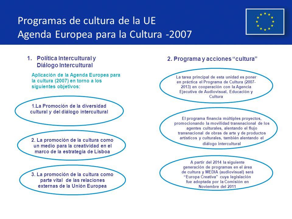 Programas de cultura de la UE Agenda Europea para la Cultura -2007
