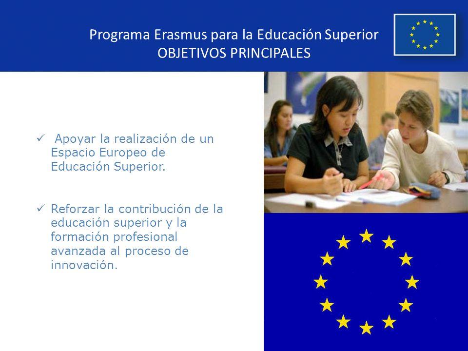 Programa Erasmus para la Educación Superior OBJETIVOS PRINCIPALES