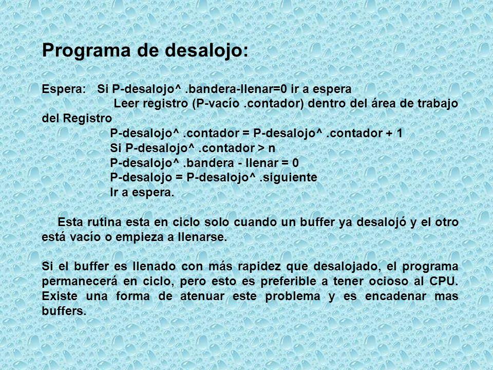 Programa de desalojo: Espera: Si P-desalojo^ .bandera-llenar=0 ir a espera.