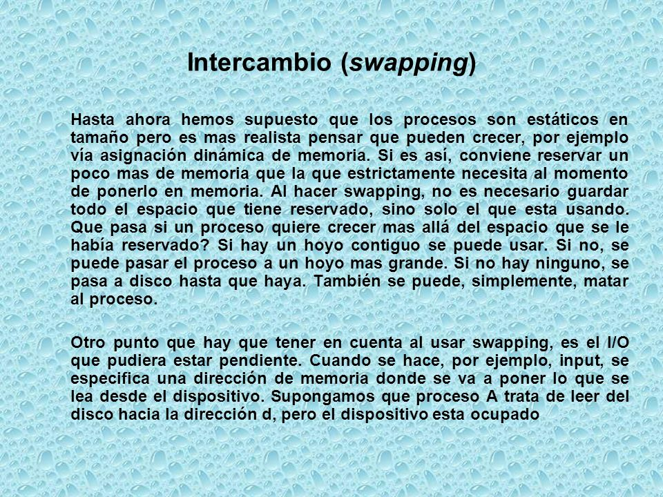 Intercambio (swapping)