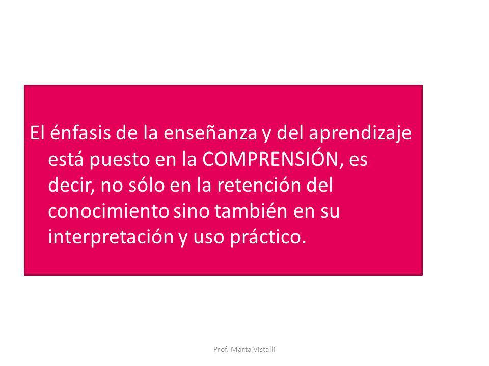 El énfasis de la enseñanza y del aprendizaje está puesto en la COMPRENSIÓN, es decir, no sólo en la retención del conocimiento sino también en su interpretación y uso práctico.