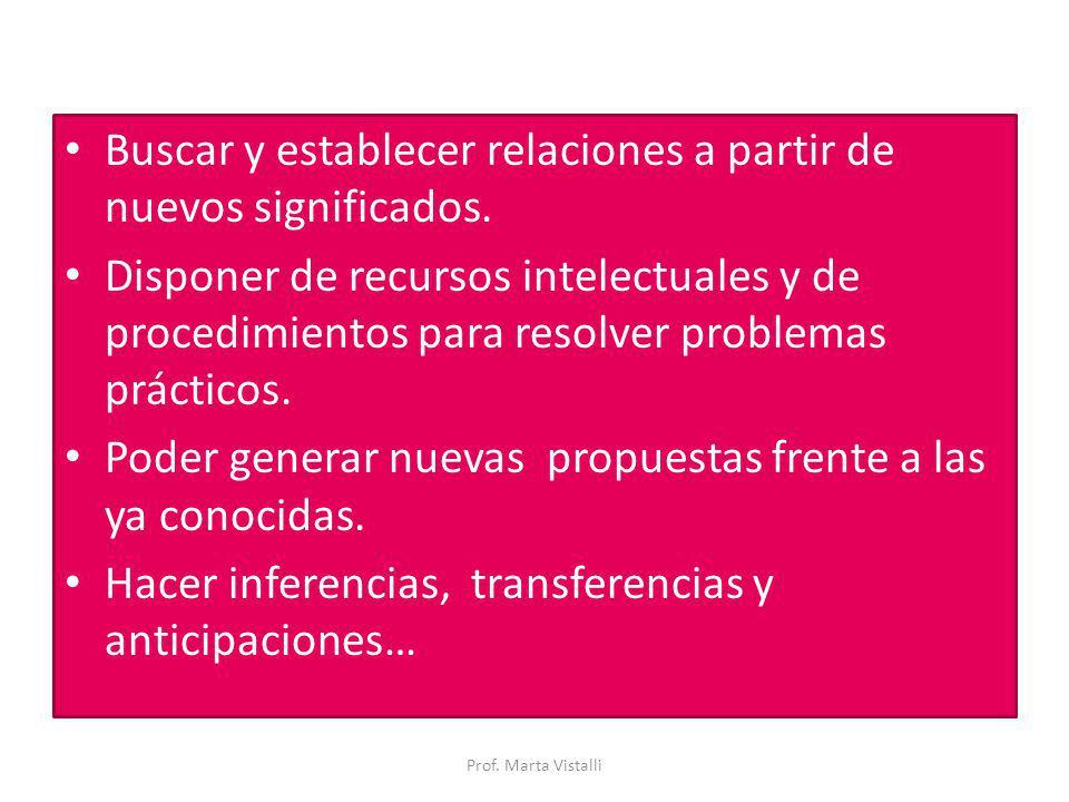 Buscar y establecer relaciones a partir de nuevos significados.