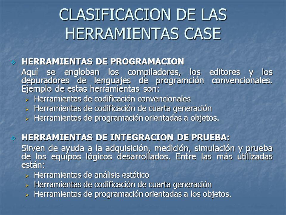CLASIFICACION DE LAS HERRAMIENTAS CASE
