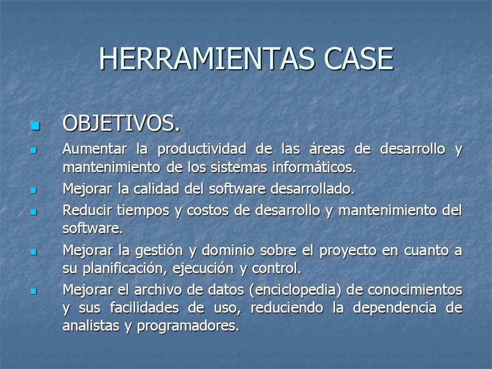 HERRAMIENTAS CASE OBJETIVOS.