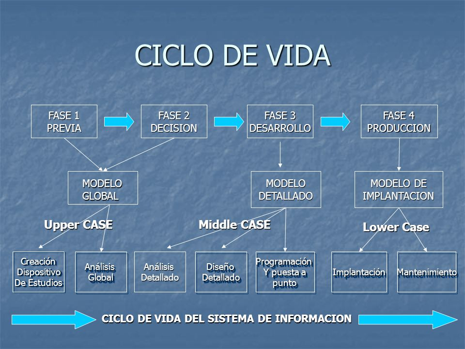 CICLO DE VIDA Upper CASE Middle CASE Lower Case FASE 1 PREVIA FASE 2