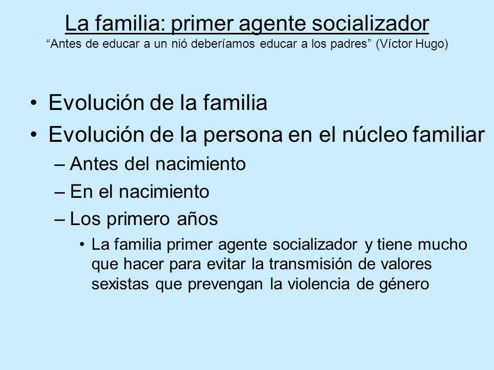 Evolución de la familia Evolución de la persona en el núcleo familiar