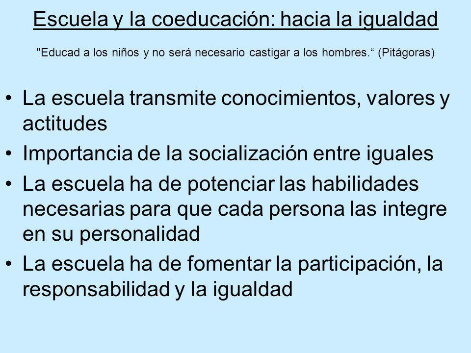 Escuela y la coeducación: hacia la igualdad Educad a los niños y no será necesario castigar a los hombres. (Pitágoras)