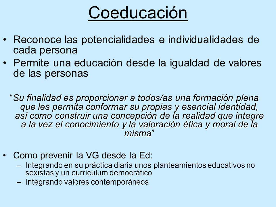 Coeducación Reconoce las potencialidades e individualidades de cada persona. Permite una educación desde la igualdad de valores de las personas.