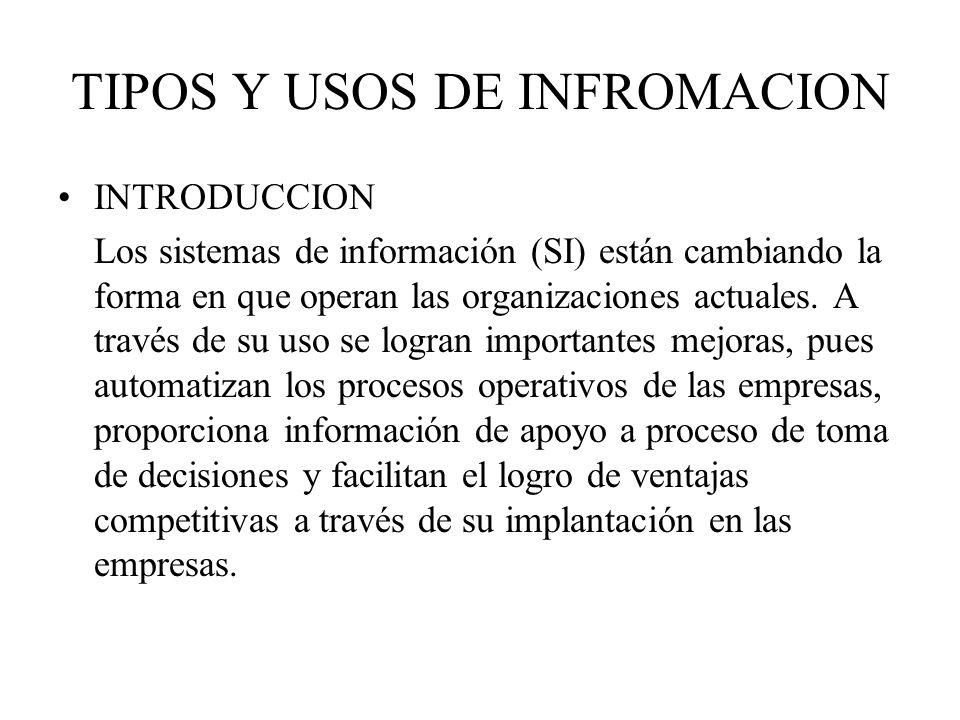 TIPOS Y USOS DE INFROMACION