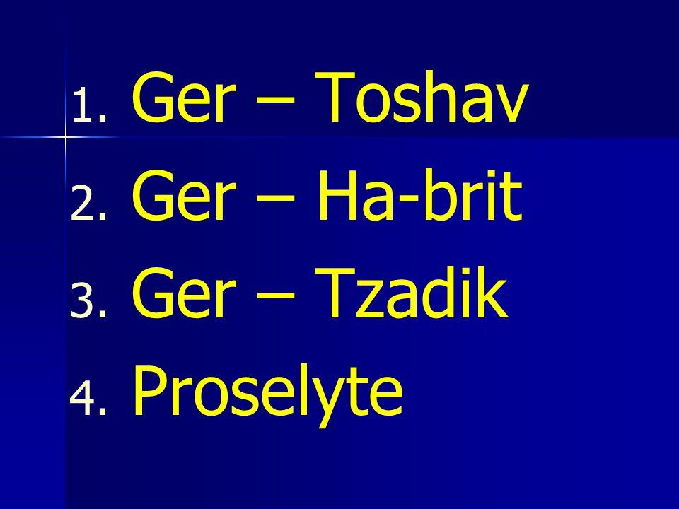 Ger – Toshav Ger – Ha-brit Ger – Tzadik Proselyte