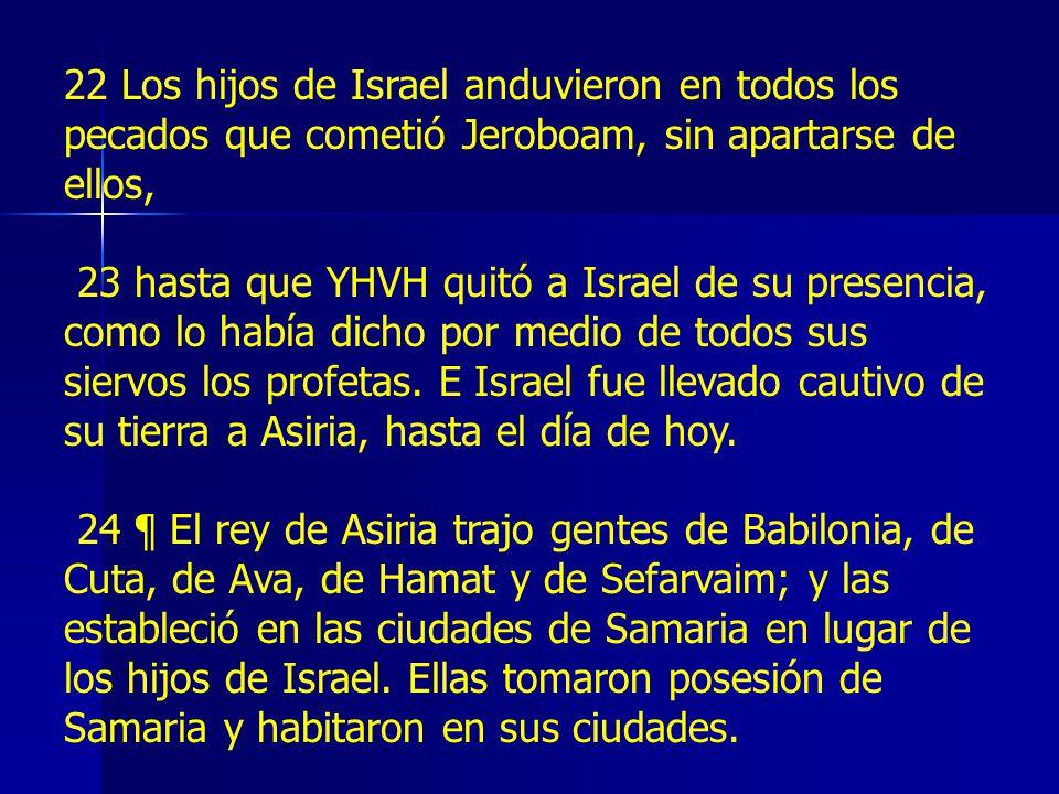 22 Los hijos de Israel anduvieron en todos los pecados que cometió Jeroboam, sin apartarse de ellos,
