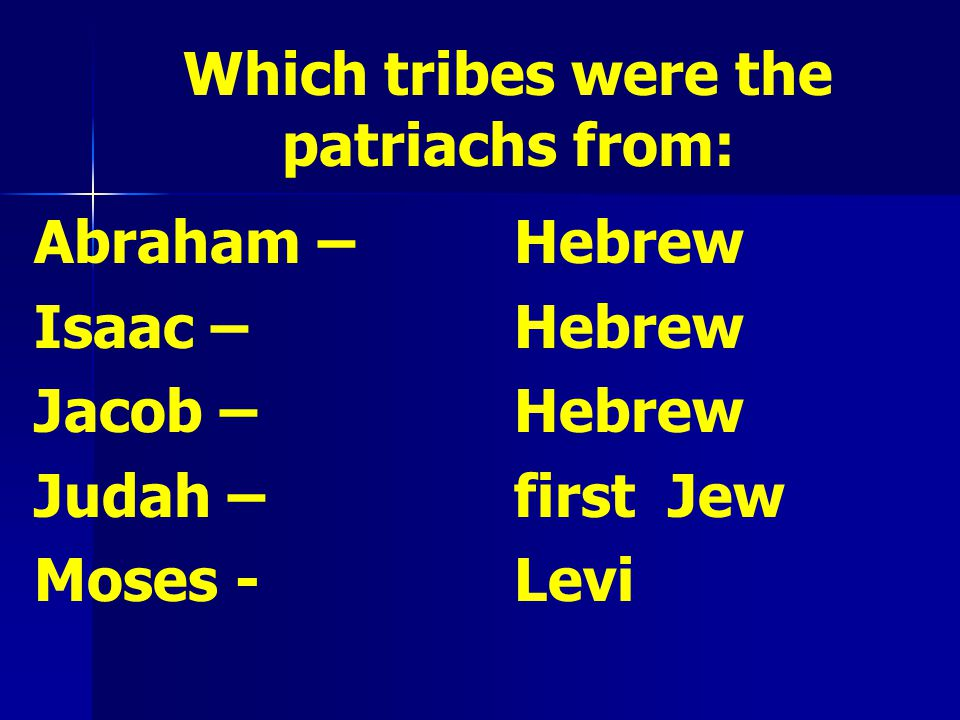 Which tribes were the patriachs from: