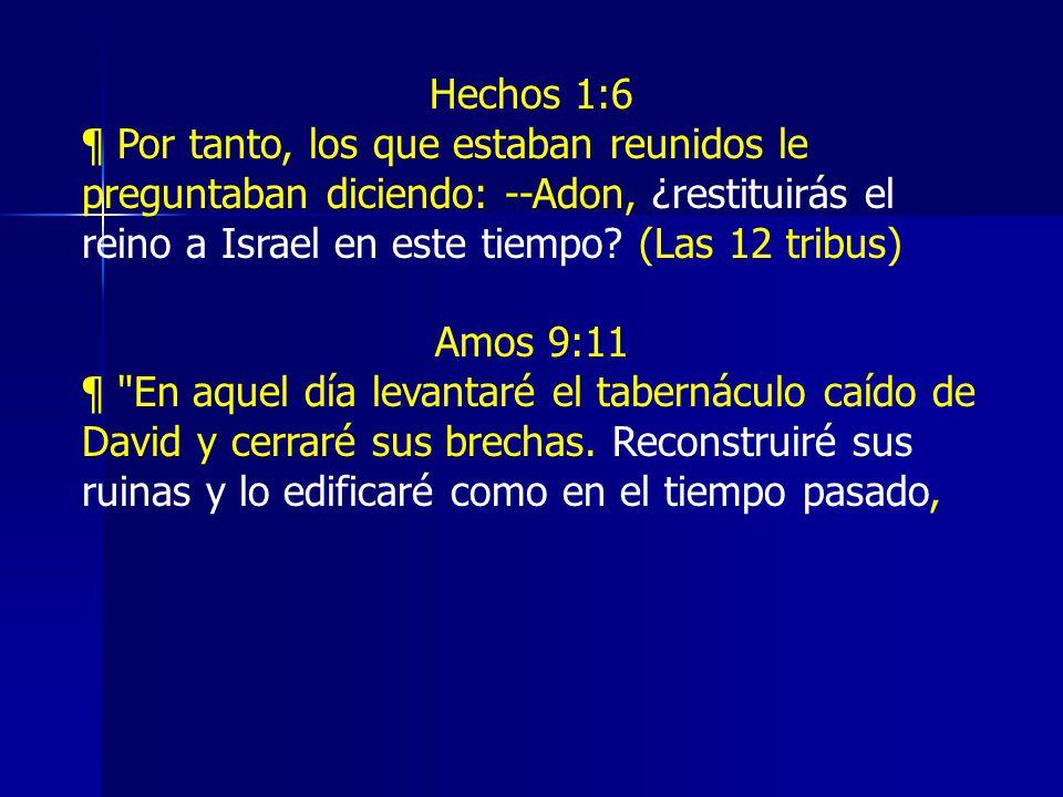 Hechos 1:6 ¶ Por tanto, los que estaban reunidos le preguntaban diciendo: --Adon, ¿restituirás el reino a Israel en este tiempo (Las 12 tribus)